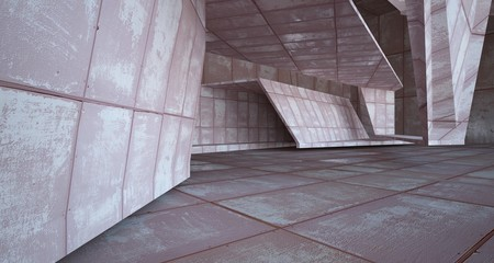 Fotobehang Oude gebouw Empty abstract room interior of sheets rusted metal. Architectural background. 3D illustration and rendering