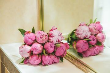 Beautiful romantic Bridal bouquet of pink peonies