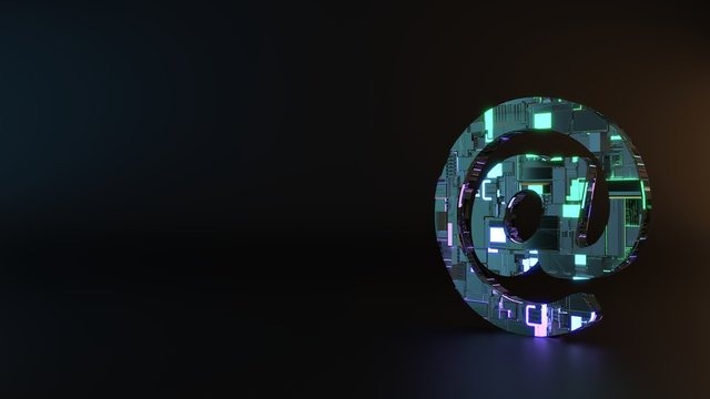 science fiction metal symbol of at sign icon render