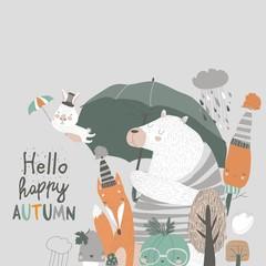 Funny animals under umbrella. Autumn time. Rainy weather