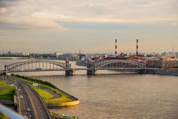 Top view of Bolsheokhtinsky bridge and the Neva river. St. Petersburg Russia