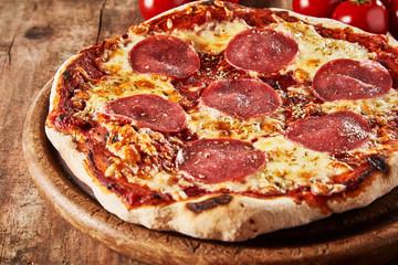 Whole oven-fired tasty Italian salami pizza