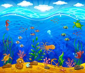 Underwater world. Sea bottom, plants, inhabitants of the sea, anchor, underwater helmet.