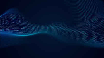Poster Fractal waves beautiful abstract wave technology background with blue light digital effect corporate concept