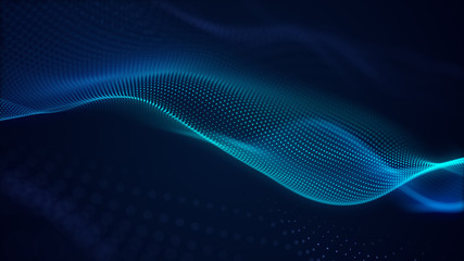 Deurstickers Fractal waves beautiful abstract wave technology background with blue light digital effect corporate concept