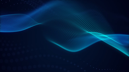 Poster Abstract wave beautiful abstract wave technology background with blue light digital effect corporate concept