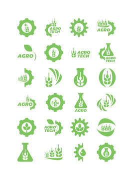 Set of green agro and bio icons for logo. Vector isolated illustration.