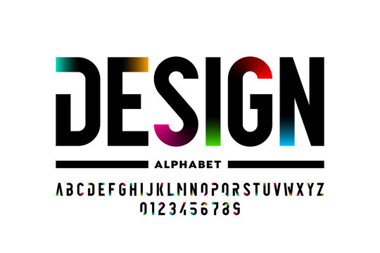 Modern style font design, alphabet letters and numbers vector illustration