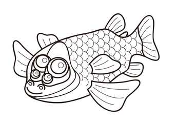 デメニギス Barreleye 深海魚 キャラクター ぬりえ イラスト