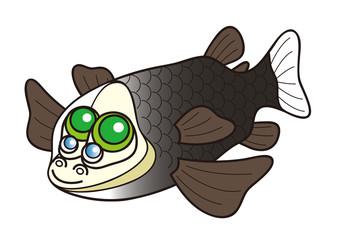 デメニギス Barreleye 深海魚 キャラクター イラスト