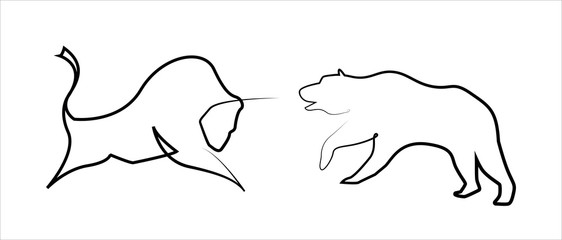 Stock trend, bear and bull in one line style. Illustration of confrontation between two market participants. Hand drawing style, trading platform indicator. Vector Stock trend logo, icon, symbol