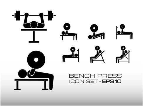 Set of Bench Press Workout Icon Vector Illustration, Consist of Incline and decline bench press, it is an exercise on the chest muscles to make it big and muscular.