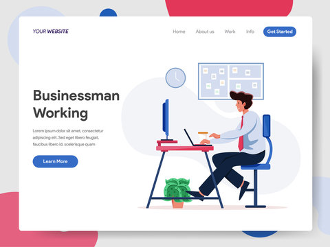 Businessman Working on Desk Illustration Concept. Modern flat design concept of web page design for website and mobile website.Vector illustration EPS 10