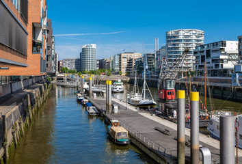 Hamburg, Germany. The Traditional Port (German: Traditionsschiffhafen or Sandtorhafen) on a sunny day. It is located in the Harbor District (Hafencity).