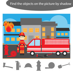 Find the objects by shadow, game with fireman for children in cartoon, education game for kids, preschool worksheet activity, task for the development of logical thinking, vector illustration