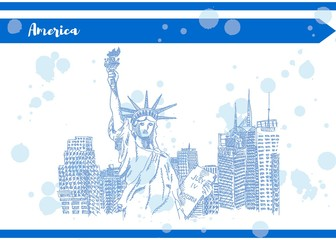 statue of liberty postcard america sketch of new york Blue