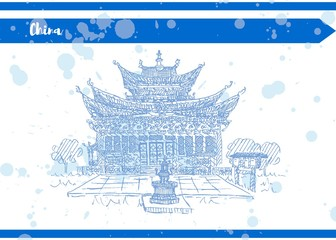 ancient chinese temple sketch drawing ancient vista Blue