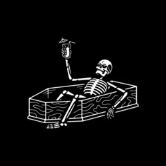 RESTING SKELETON WITH COCKTAIL IN A COFFIN WHITE BLACK BACKGROUND