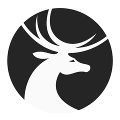 Stylized deer head in a circle