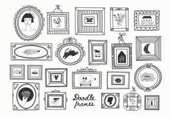 Set of various doodle frames with pictures. Different shapes. Minimalistic design. Outline drawing. Hand drawn vector illustration. Perfect for wallpapers and logos. Everything is isolated