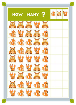 Counting game, educational game for children. Count how many animals in each row