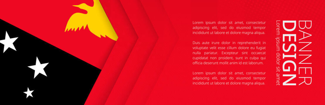 Banner template with flag of Papua New Guinea for advertising travel, business and other.