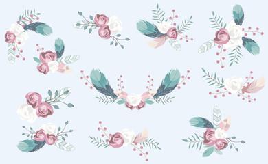 pastel flower set with flower,rose,leaves,wreath.Vector illustration for sticker,postcad,birthday invitation.Editable object
