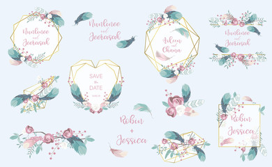 Wall Mural - pastel flower frame set with flower,feather,leaves,wreath,geometric.Vector illustration for sticker,postcad,birthday invitation.Editable object