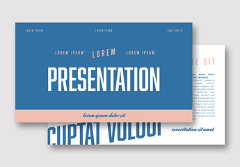 Blue and White Presentation Layout with Pink Accents