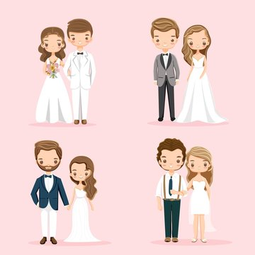 vector of cute wedding couple character set