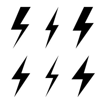 Set of icons representing lightning bolt, lightning strike or thunderstorm. Suitable for voltage, electricity and power signs.