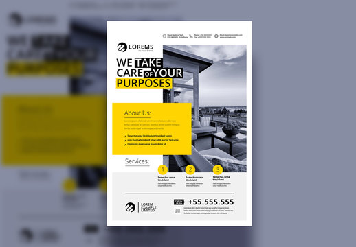 Flyer Layout with Yellow Accents