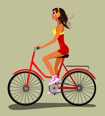 girl riding bike, vector illustration of cute girl rides a bike and listens to music with headphones