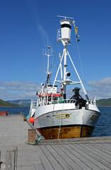 Fischkutter im Fjord von Rognan Norwegen