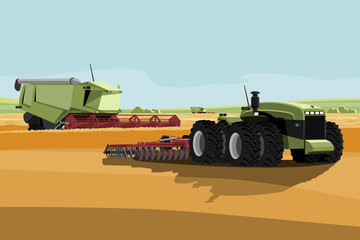Wall Mural - Autonomous harvester and tractor on a smart farm. Digital transformation in agriculture. Vector illustration
