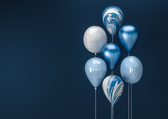 Set of colorful balloons with empty space for text. Realistic background for birthday, anniversary, wedding, holiday congratulation banners. Festive template for social media. 3D render illustration. Fototapete