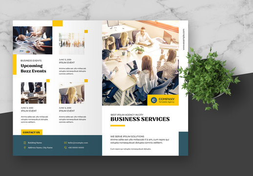 Bifold Brochure Layout with Blue and Yellow Accents