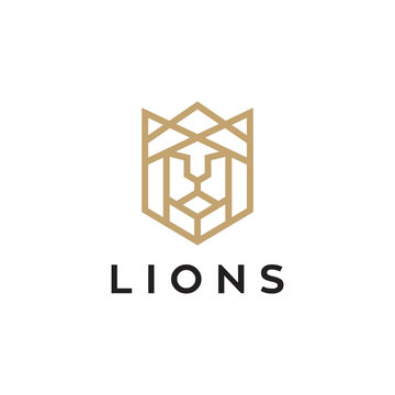 lion head outline logo vector icon download on white background