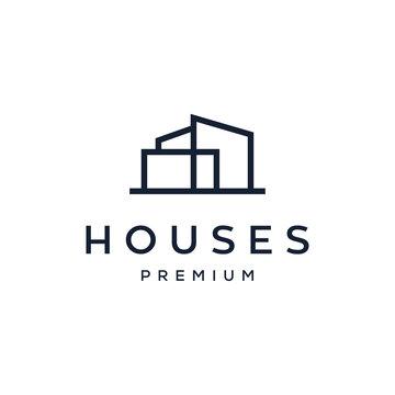 house / home architect mortgage logo vector icon illustration line outline monoline design