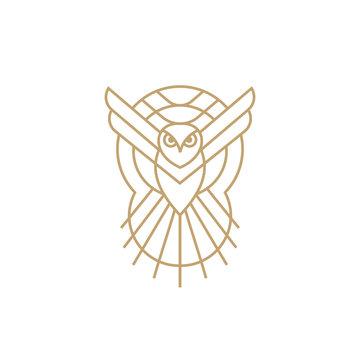owl line vector icon logo design