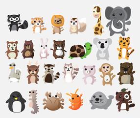 Cute animals cartoon. illustration vector image.