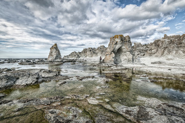 Raukar formation, a limestone reef on Gotland Island, Sweden, Scandinavia, Europe