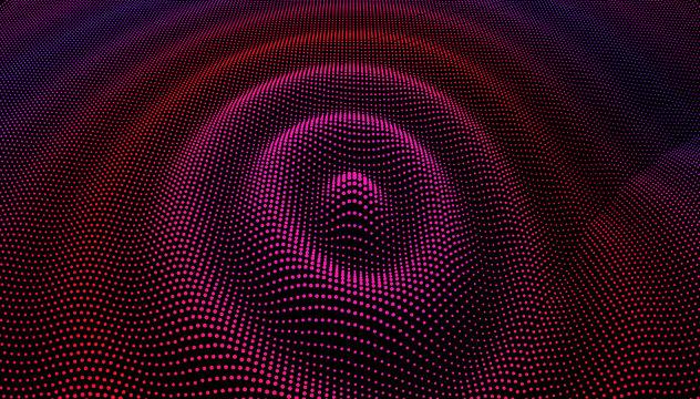 Particle 3D wavy ripple effect. Color Grid surface