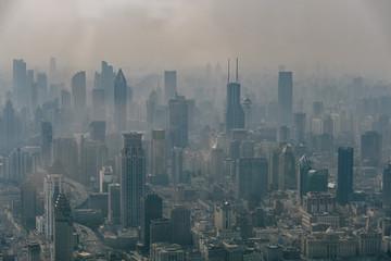 Foto auf AluDibond Shanghai Aerial View of Shanghai Showing its Pollution
