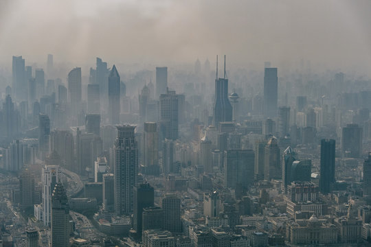 Aerial View of Shanghai Showing its Pollution