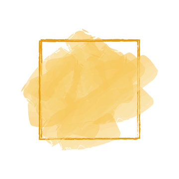 yellow watercolor banner isolated on white background