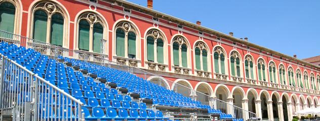 Republic Square / Prokurative with Temporary Event Seatings. City of Split, Croatia.  European famous travel places.