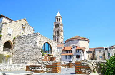 The Diocletian's Palace in Split, Croatia - Famous Diocletian Palace is ancient palace built for Roman Emperor Diocletian in historic center of Split, Croatia