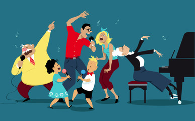 Three generation family singing karaoke together, EPS 8 vector illustration Fotobehang