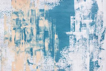 Fototapeta abstract textured blue acrylic painting on canvas  obraz